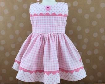Conçus pour la poupée American Girl autres poupées de 18 pouces rose et blanc contrôles points Split corsage sans manches robe correspondant Hair Bow
