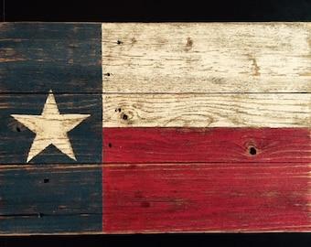 Rustic Wood Texas Flag