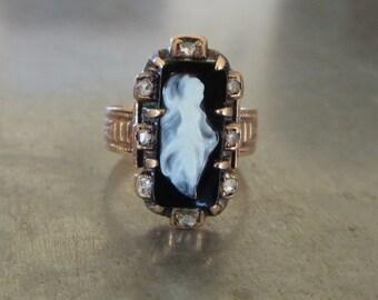 Antique Victorian Ring-Cameo Diamond Ring-Unique Engagement Ring-Antique Onyx Diamond Ring-Antique Victorian Cameo Ring-Mourning Ring