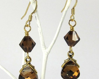 Swarovski Crystal Earrings, Brown Crystal Earrings of Swarovski Crystal Terra Crystals and Briolettes