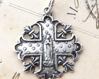 Sterling Silver Marian Fleur-de-Lis Cross Necklace - Antique Replica