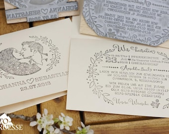Set of 2x Wedding Invitation Stamps,  Face stamp, Portrait, customized, Custom Stamp, Personalized Stamp, Wedding Stamp, Wooden stamp