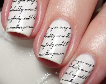 Cursive font Love Nail Art Sticker Water Transfer Decal 23