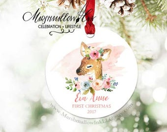Personalized Baby's First Christmas Ornament, Woodland Ornament for Baby, Christmas Gift, Newborn Ornament, Deer Ornament, Fawn Ornament