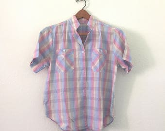 Pastel Rainbow Plaid 80s Top