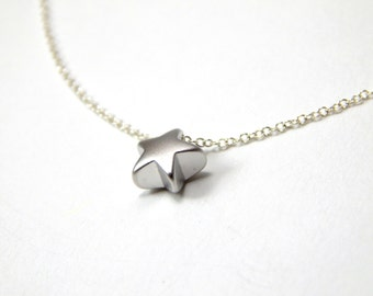 SALE Silver star necklace, puffy star necklace, minimalist star necklace, minimalist charm necklace, star charm necklace, small star 241