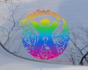 Ombre Rainbow Saving Sons.org Decal