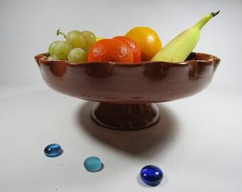 Fruit enamelled natural earth terracotta Bowl.