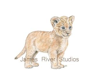 Lion Art Lion Painting Lion Print. Lion Watercolor Painting Animal Watercolor Print Lion Nursery Art Lion Cub Baby Lion Safari Animal Art.