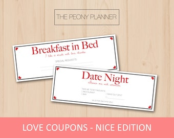 LOVE COUPONS - Nice Edition | Printable, Digital, DIY | Gifts for Valentine's Day, Anniversaries, Girlfriend, Boyfriend | Cute, Romantic