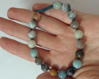 CALM Pocket mala, amazonite, wrist mala, 27 bead mala, mini mala, base chakra mala, prayer beads