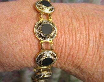 Vintage DAMASCENE Niello Onyx Circle Link Bracelet ~ 1940s Toledo Damasquinados Gold Link Onyx Bracelet ~ Moorish Design Damascene Bracelet