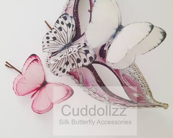 Butterfly Hair Clip Butterfly Hair Accessories Butterfly Hair Silk Butterfly Butterfly Gifts Woodland Wedding White Pink Beautiful