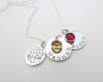 Personalized Birthstone Necklace with Family Tree Charm  - Mothers Necklace - Personalized Jewelry -  Kids Name - Grandma - Son - Daughter
