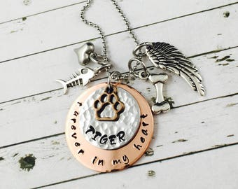 Pet Memorial Necklace, Personalised With Hand Stamped Pet Name, Pet Jewellery-Pet Lover gift, Cat Memorial Jewelry, Dog Memorial Jewelry