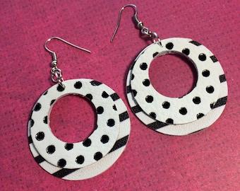 Black and white hoop earrings, stacked circle earrings, polka dot and stripe leather earrings