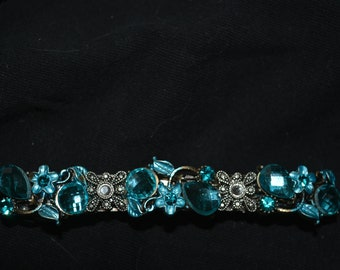 hair clip blue rhinestones large flowers