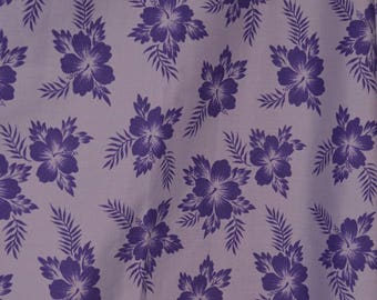 Hawaiian tropical hibiscus fabric purple tropical shirt fabric