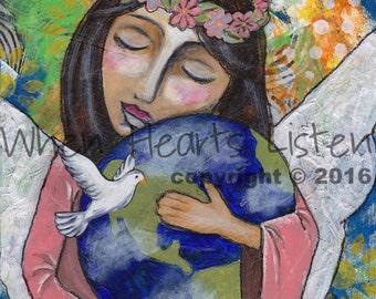 Angel of Peace, Angel Art, Angel Painting, Folk Art, Inspirational Art, Small Painting, Giclee Print
