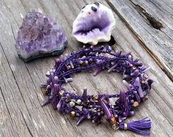 Ultra Violet Crocheted Wrap Bracelet / Color of the Year Boho Stacking Bracelet / Purple Branch Coral Crocheted Bracelet / Beach Boho