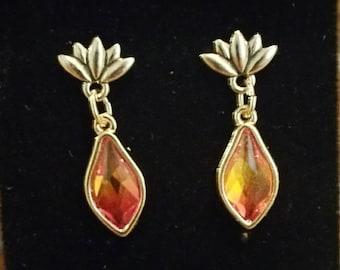 0313-Lotus Flower and Swarovski Fire Opal Earrings