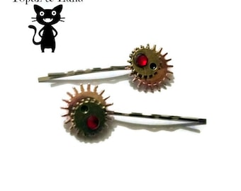 Pair of steampunk  hair clips, bobby pins, red gem
