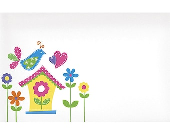 50 Cute BIRDHOUSE & FLOWERS Print Florist Blank Enclosure Cards Small Tags Crafts (Free Shipping!)