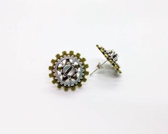 Steampunk Earrings Stud Cog Gear Jewellery Silver And Bronze
