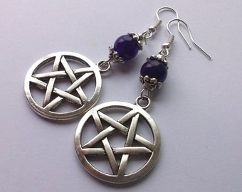 Large Pentagram Earrings , Silver Pentagram Earrings , Silver Pentacle Earrings , Amethyst Pentagram , Wiccan Jewelry , Pagan Jewelry , Gift