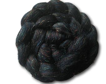 Combed Tops 100g Roving Merino Sparkles Glitter Spinning Fiber Fibre Felting Weaving Galaxy Black Goth Cygnus Star Sock Nylon Blend
