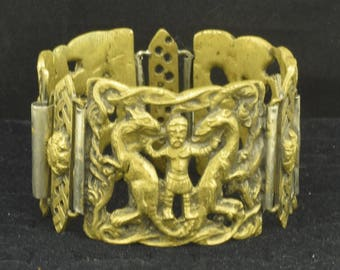 "Large Heavy Brass Bracelet Dragon Slayer Vintage 1 5/8"" Wide ~ Lot 1678"