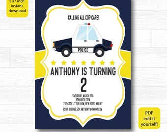 Personalised POLICE INVITATION - 5 x 7 inch. Printable Police Birthday Invitation, Police Birthday Invitation, Police Birthday Printable