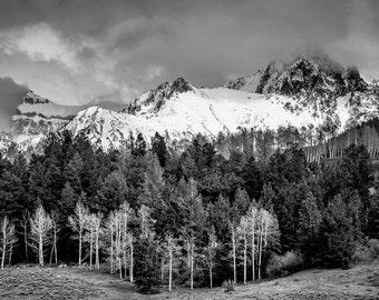Mountain photo, landscape wall art, black white mountain print, Colorado art, snow mountain photo, forest art, wilderness photo | Sneffels