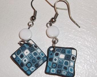 Blue and White Retro Earrings