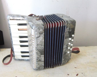 Vintage Toy Accordian Grey Marbled Accordian Childs Toy Toy Musical Instrument Gift Display Prop