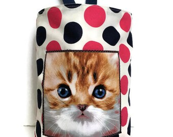 Car Trash Bag//Kitty on Polka Dots//Litter Bag//Car Accessory//Storage Bag//Car Caddy//Waterproof Bag// Organizer Bag//Hanging trash bag