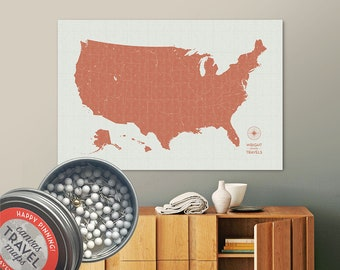 Vintage Push Pin USA Map (Terra) Travel Map Push Pin Map Gift Road Trip Map of the USA on Canvas Personalized Gift For Family Name Sign