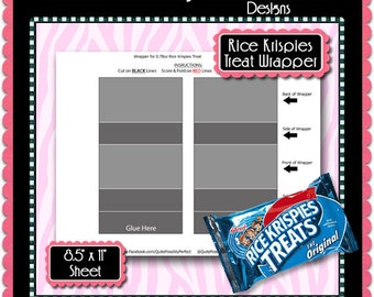 "Rice Krispies Treats Wrapper Template Instant Download PSD and PNG Formats (Temp758) 8.5x11"" Digital Collage Sheet Template"