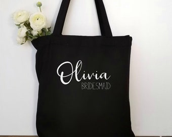 Personalized Bridesmaid Gift Maid of Honor Gift Bridesmaid Proposal Bridesmaid Tote Bag Bridal Party Gift Flower Girl Gift Maid of Honor Bag