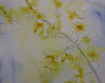 Forsythia, Original Watercolor with Ink