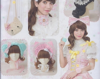 Simplicity 8443 Misses Lolita Kawaii CosPlay Hair Bow Bonnet Cat and Lollipop Purse Ribbon Medallions UNCUT Sewing Pattern