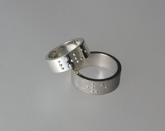 """LOVE IS BLIND sterling silver ring with """"love"""" in braille characters. Wedding band, engagement, mariage, 925"""