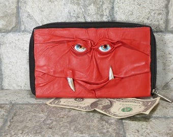 Wallet Woman Clutch With Monster Face Double Zippered Organizer Red Black Leather  234