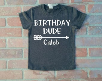 Personalized Boy's Heather Dark Gray Birthday Dude Shirt. Cake Smash Outfit. Boy's Second Birthday shirt.