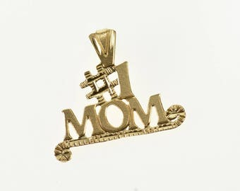 14k #1 Mom Number One Mother Word Pendant Gold