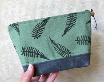 Fern Leaf Zip Pouch in Green, Hand Printed Fabric and Waxed Canvas Clutch