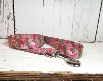 Pink Paisley Dog Leash 4 ft - Ready To Ship - 4 Foot Dog Leash - Pink Leash