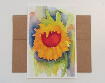 Sunflower Watercolor Print, Archival Sunflower Print, 4x6 Print, Note Card and Envelope, Sunflower Painting, Floral Painting, Watercolor