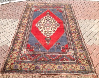 Red Bohemian Rug, Area rug, Vintage rug, Traditional Anatolian rugs, hand knotted rug, Turkish rug, large rugs, oriental rug, rug 121