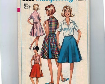 1960s Vintage Sewing Pattern Simplicity 6363 Misses Lined or Reversible Wrap Skirt and Blouse Size 10 Bust 31 60s 1965